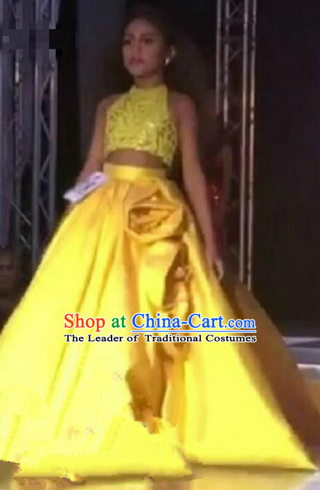 Top Grade Professional Compere Performance Catwalks Costume, Children Chorus Singing Group Baby Princess Yellow Lace Full Dress Modern Dance Long Trailing Dress for Girls Kids