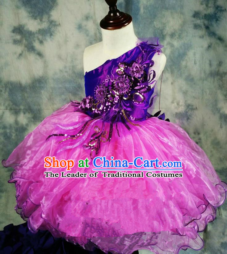 Top Grade Professional Compere Performance Catwalks Costume, Children Chorus Singing Group Baby Princess One-shoulder Full Dress Modern Dance Short Bubble Trailing Dress for Girls Kids