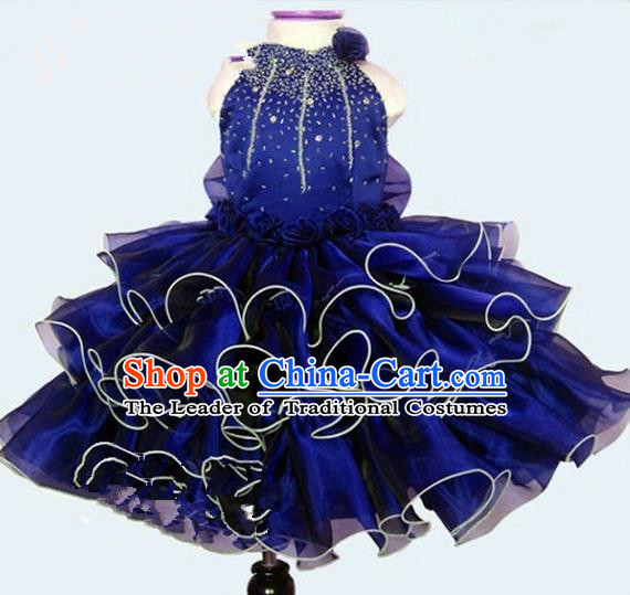 Top Grade Professional Compere Performance Catwalks Costume, Children Chorus Singing Group Little Princess Crystal Full Dress Modern Dance Blue Bubble Dress for Girls Kids