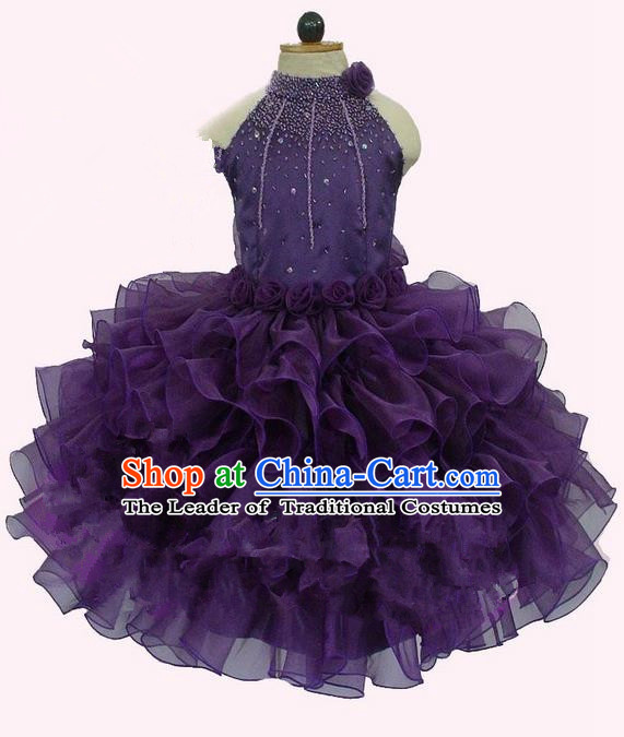 Top Grade Professional Compere Performance Catwalks Costume, Children Chorus Singing Group Little Princess Crystal Full Dress Modern Dance Deep Purple Bubble Dress for Girls Kids