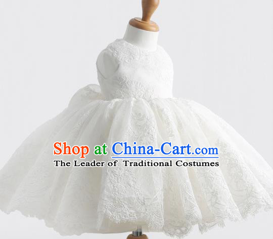 Top Grade Professional Compere Performance Catwalks Costume, Children Chorus Singing Group Little Princess Full Dress Modern Dance White Bubble Dress for Girls Kids