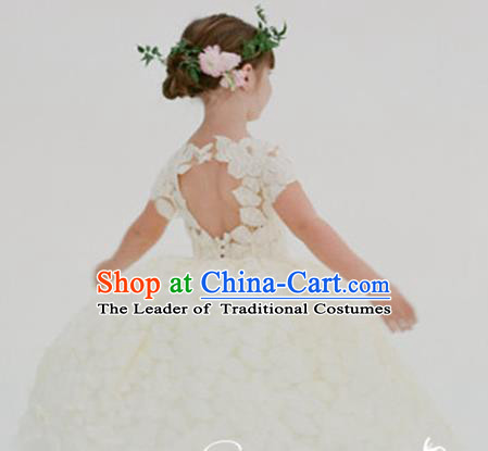 Top Grade Professional Compere Performance Catwalks Costume, Children Chorus Singing Group Little Princess Wedding Full Dress Modern Dance White Bubble Dress for Girls Kids