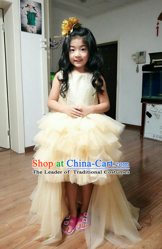 Top Grade Professional Compere Performance Catwalks Costume, Children Chorus Singing Group Little Princess Wedding Full Dress Modern Dance White Long Trailing Bubble Dress for Girls Kids