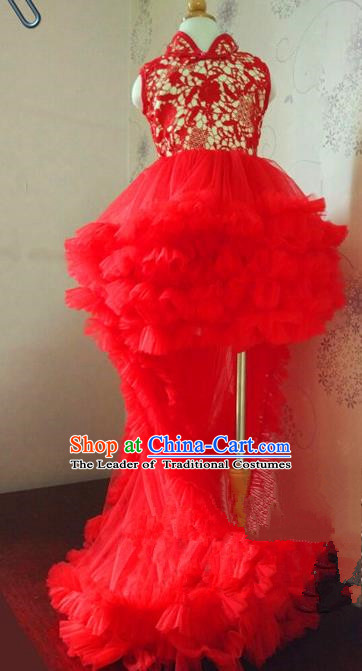 Top Grade Professional Compere Performance China Style Catwalks Costume, Children Chorus Singing Group Dragon Robes Red Full Dress Modern Dance Trailing Lace Cheongsam Dress for Girls Kids