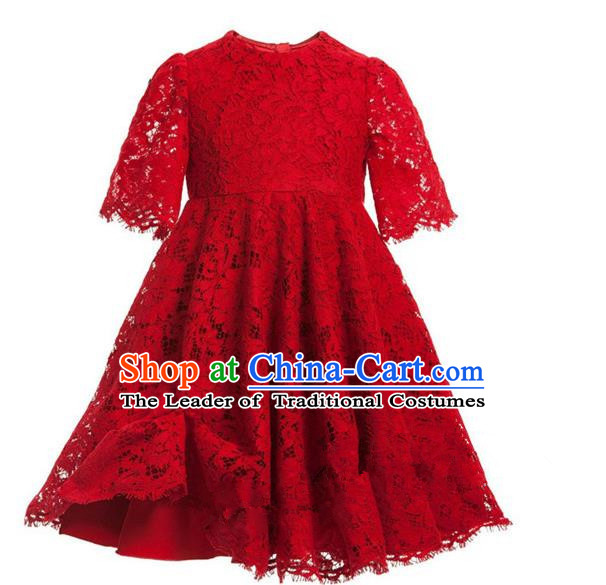 Top Grade Professional Compere Performance Catwalks Costume, Children Chorus Singing Group Red Lace Dress Full Dress Modern Dance Short Dress for Girls Kids