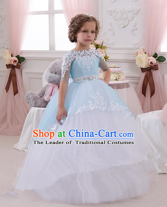 Top Grade Professional Compere Performance Catwalks Costume, Children Chorus Singing Group Baby Princess Layered Dress Full Dress Modern Dance Bubble Dress for Girls Kids