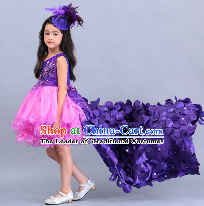 Top Grade Professional Compere Performance Catwalks Costume, Children Chorus Singing Group Baby Princess Purple Layered Dress Full Dress Modern Dance Trailing Bubble Dress for Girls Kids