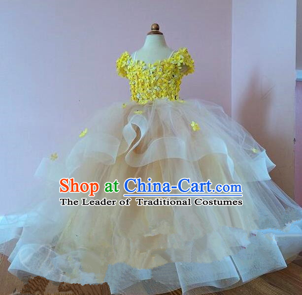 Top Grade Professional Compere Performance Catwalks Costume, Children Chorus Singing Group Baby Princess Flowers Yellow Full Dress Modern Dance Trailing Bubble Dress for Girls Kids