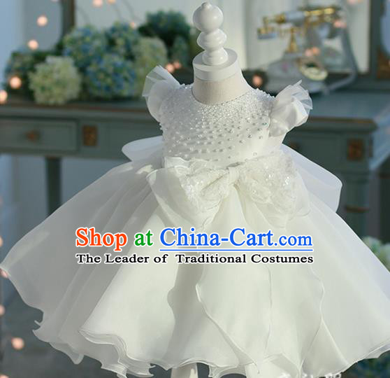Top Grade Professional Compere Performance Catwalks Costume, Children Chorus Singing Group Baby Princess Flowers White Full Dress Modern Dance Bubble Dress for Girls Kids
