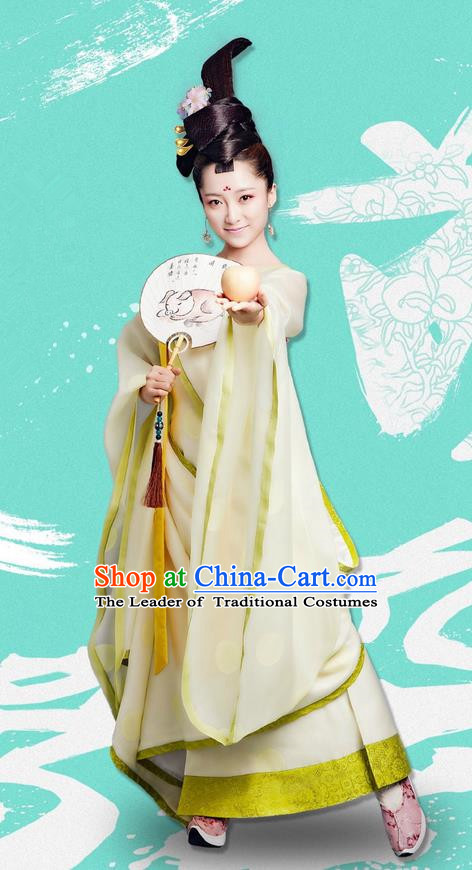 Traditional Ancient Chinese Elegant Princess Costume and Handmade Headpiece Complete Set, Chinese Television Drama Concubine Meng Comes Across Palace Lady Dress Chinese Tang Dynasty Imperial Consort Clothing for Women