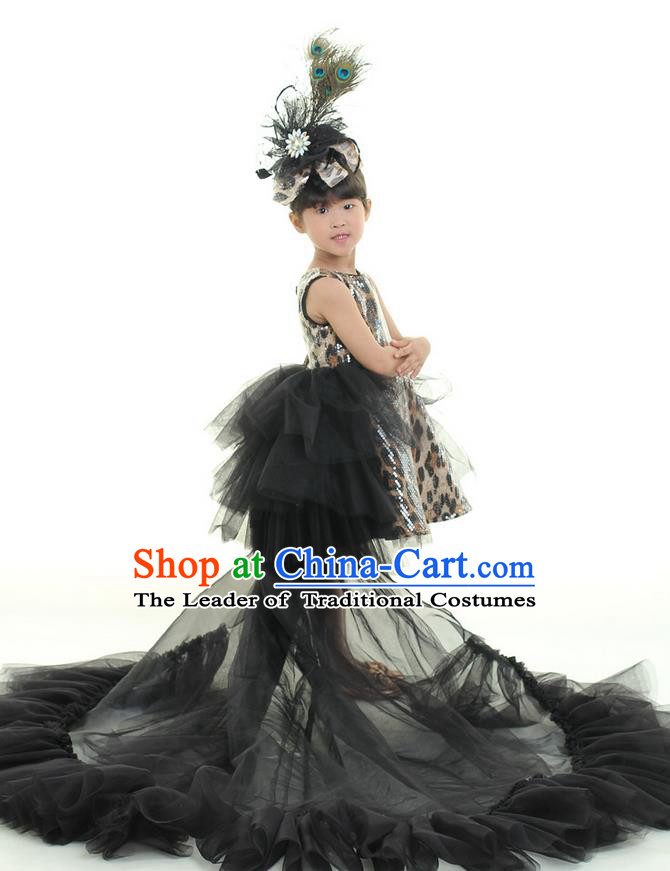 Top Grade Chinese Compere Professional Performance Costume, Children Chorus Singing Group Full Dress Modern Dance Black Leopard Trailing Dress for Girls Kids