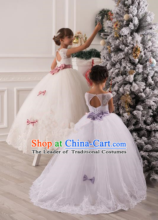 Top Grade Chinese Compere Professional Performance Catwalks Costume, Children Chorus Singing Group Bowknot Bubble Full Dress Modern Dance White Long Trailing Dress for Girls Kids