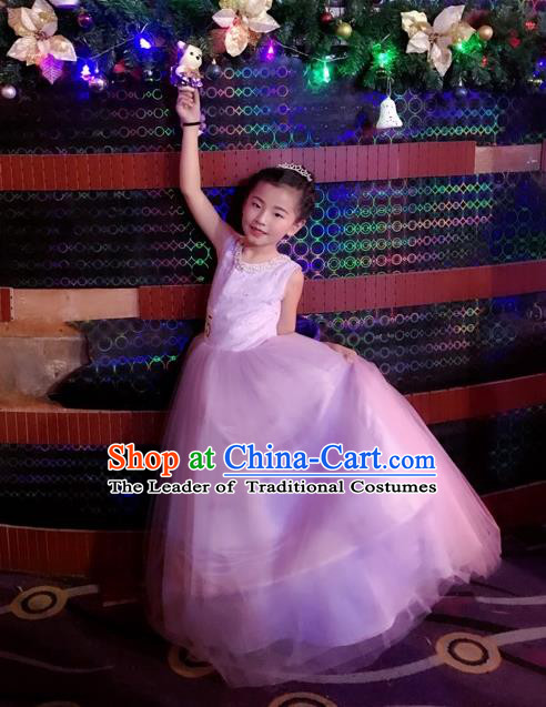 Top Grade Chinese Compere Professional Performance Catwalks Costume, Children Chorus Singing Group Bowknot Bubble Full Dress Modern Dance Purple Long Dress for Girls Kids