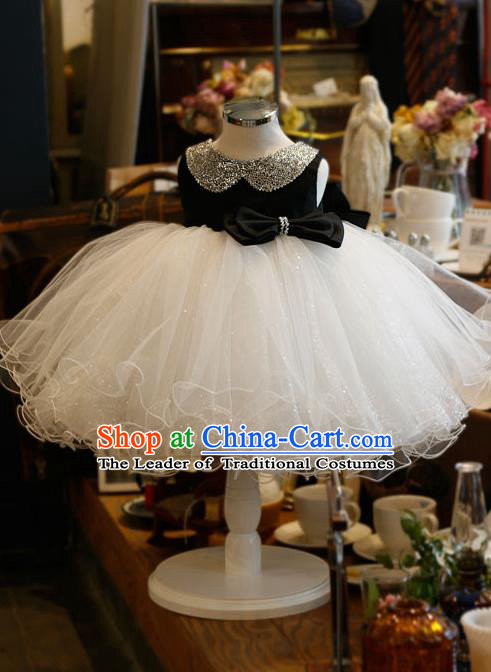 Top Grade Chinese Compere Professional Performance Catwalks Costume, Children Chorus Singing Group Bubble Veil Full Dress Modern Dance White and Black Dress for Girls Kids