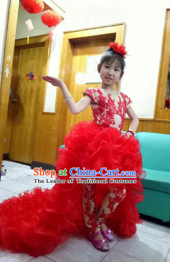 Top Grade Chinese Compere Professional Performance Catwalks Costume, Children Chorus Singing Group Red Bubble Full Dress Modern Dance Little Princess Long Trailing Dress for Girls Kids