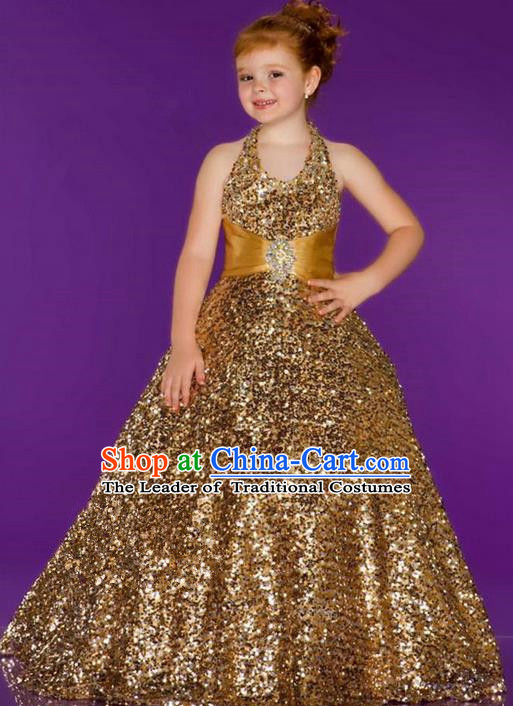 Top Grade Chinese Compere Professional Performance Catwalks Costume, Children Chorus Singing Group Gold Paillette Bubble Full Dress Modern Dance Little Princess Long Trailing Dress for Girls Kids