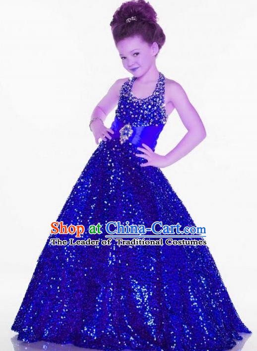 Top Grade Chinese Compere Professional Performance Catwalks Costume, Children Chorus Singing Group Blue Paillette Bubble Full Dress Modern Dance Little Princess Long Trailing Dress for Girls Kids