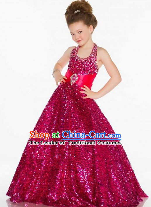 Top Grade Chinese Compere Professional Performance Catwalks Costume, Children Chorus Singing Group Rose Paillette Bubble Full Dress Modern Dance Little Princess Long Trailing Dress for Girls Kids