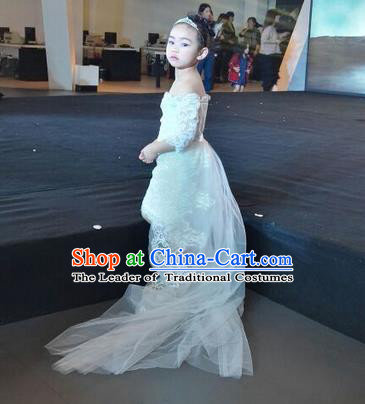 Top Grade Chinese Compere Professional Performance Catwalks Costume, Children Chorus Singing Group White Wedding Full Dress Modern Dance Little Princess Long Trailing Dress for Girls Kids