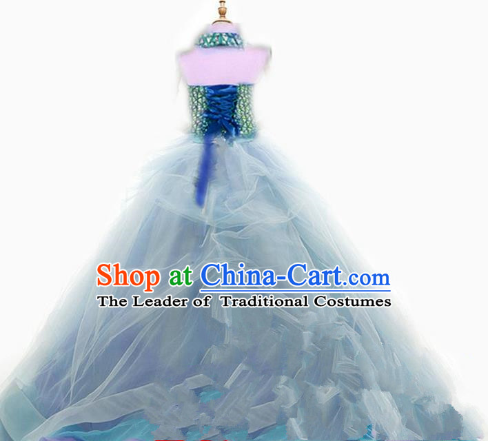 Top Grade Chinese Compere Professional Performance Catwalks Costume, Children Chorus Singing Group Flowers Big Swing Formal Dress Modern Dance Little Princess Long Trailing Dress for Girls Kids