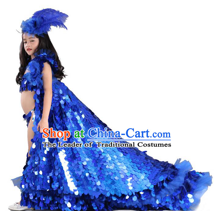 Top Grade Chinese Compere Professional Performance Catwalks Costume, Children Blue Paillette Formal Dress Modern Dance Little Princess Long Trailing Dress for Girls Kids