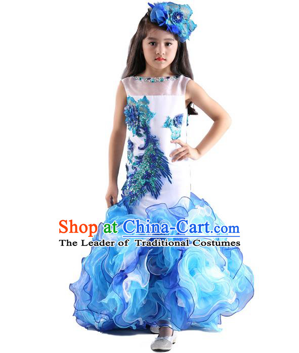 Top Grade Chinese Compere Professional Performance Catwalks Costume, Children Chorus Blue Fishtail Formal Dress Modern Dance Little Princess Long Dress for Girls Kids