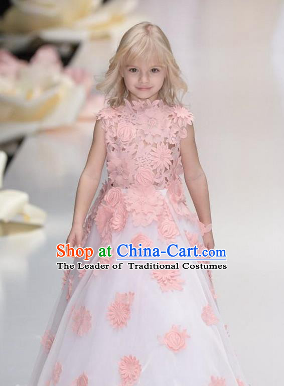 Top Grade Chinese Compere Professional Performance Catwalks Costume, Children Chorus Flowers Bubble Formal Dress Modern Dance Little Princess Long Lace Dress for Girls Kids