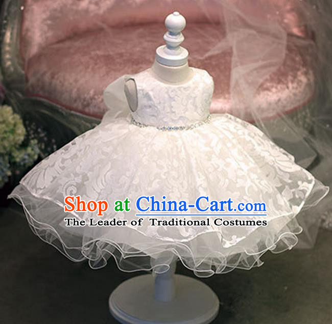 Top Grade Chinese Compere Professional Performance Catwalks Costume, Children Chorus White Bubble Formal Dress Modern Dance Baby Princess Veil Dress for Girls Kids