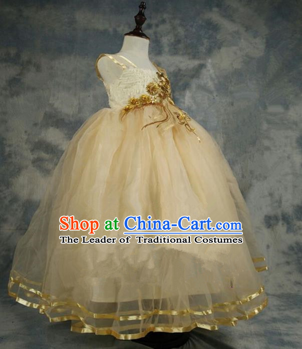 Top Grade Chinese Compere Professional Performance Catwalks Costume, Children Chorus Champagne Bubble Formal Dress Modern Dance Baby Princess Veil Long Dress for Girls Kids