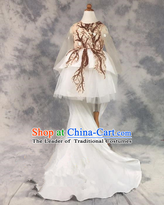 Top Grade Chinese Compere Professional Performance Catwalks Costume, Children Chorus Champagne Paillette Bubble Formal Dress Modern Dance Baby Princess Veil Long Trailing Dress for Girls Kids