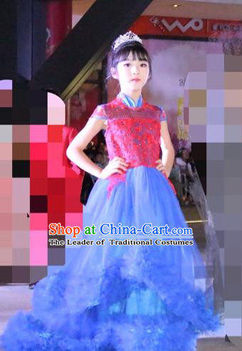Top Grade Chinese Compere Professional Performance Chinese Style Catwalks Costume, Children Chorus Stand Collar Paillette Bubble Formal Dress Modern Dance Baby Princess Veil Long Trailing Dress for Girls Kids