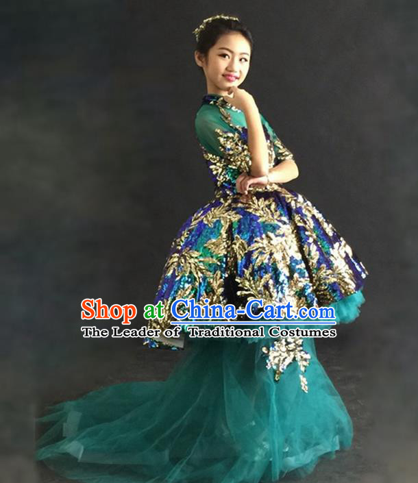 Top Grade Chinese Compere Professional Performance Catwalks Costume, Children Chorus Green Bubble Formal Dress Modern Dance Baby Princess Veil Long Trailing Dress for Girls Kids