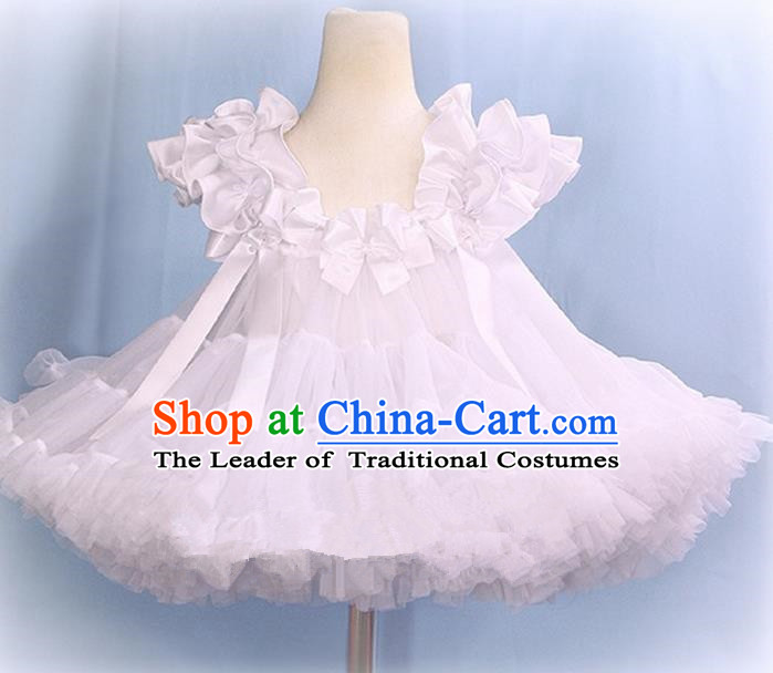 Top Grade Chinese Compere Professional Performance Catwalks Costume, Children Chorus White Bubble Formal Dress Modern Dance Baby Princess Veil Short Dress for Girls Kids