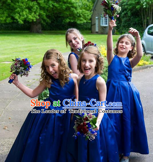 Top Grade Chinese Compere Professional Performance Catwalks Costume, Children Chorus Blue Bubble Wedding Formal Dress Modern Dance Baby Princess Long Satin Dress for Girls Kids