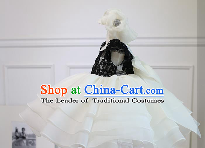 Top Grade Chinese Compere Professional Performance Catwalks Costume, Children Chorus Black and White Bubble Wedding Formal Dress Modern Dance Baby Princess Short Dress for Girls Kids