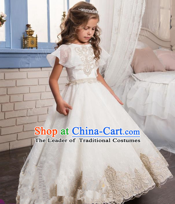 Top Grade Chinese Compere Professional Performance Catwalks Costume, Children Chorus White Lace Big Swing Wedding Formal Dress Modern Dance Baby Princess Long Bubble Dress for Girls Kids