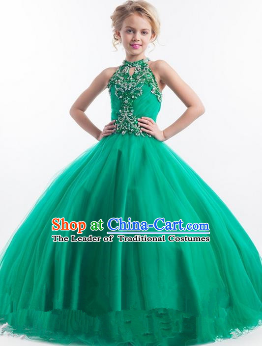 Top Grade Chinese Compere Professional Performance Catwalks Costume, Children Chorus Green Lace Big Swing Wedding Formal Dress Modern Dance Baby Princess Long Bubble Dress for Girls Kids