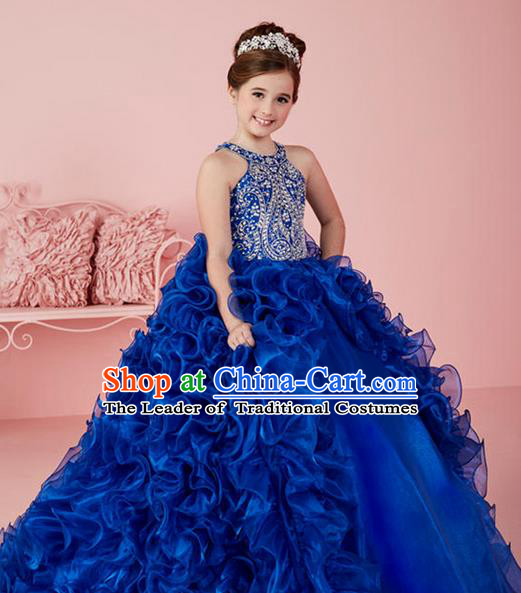Top Grade Chinese Compere Professional Performance Catwalks Costume, Children Chorus Blue Flowers Big Swing Wedding Formal Dress Modern Dance Baby Princess Long Trailing Dress for Girls Kids