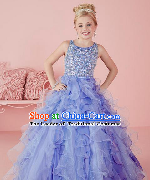Top Grade Chinese Compere Professional Performance Catwalks Costume, Children Chorus Light Purple Crystal Big Swing Wedding Formal Dress Modern Dance Baby Princess Long Bubble Dress for Girls Kids