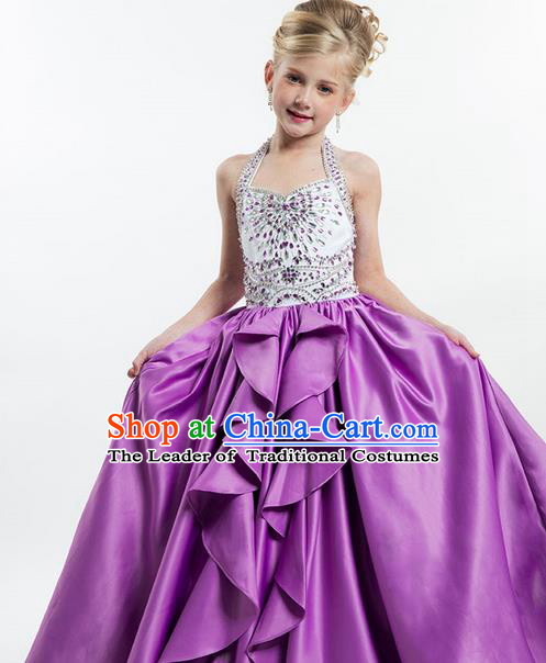 Top Grade Chinese Compere Professional Performance Catwalks Costume, Children Chorus Purple Crystal Big Swing Wedding Formal Dress Modern Dance Baby Princess Long Bubble Dress for Girls Kids