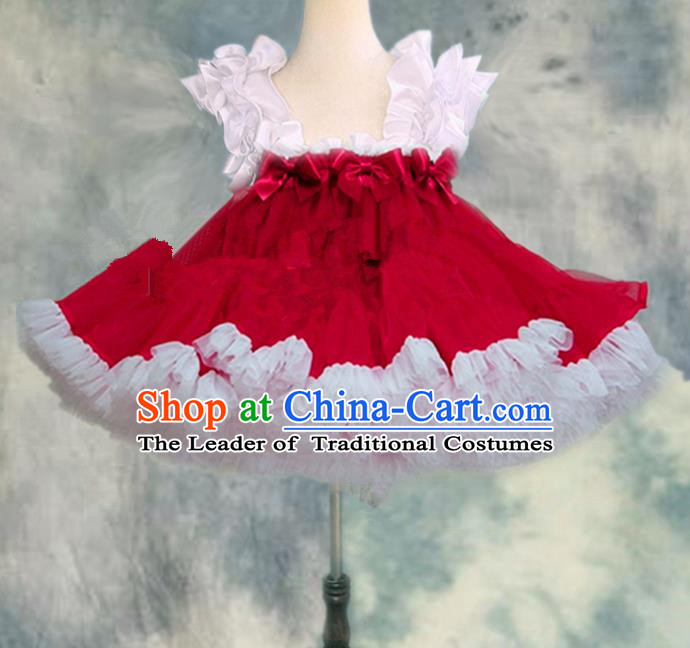 Top Grade Chinese Compere Professional Performance Catwalks Costume, Children Chorus White and Red Bubble Formal Dress Modern Dance Baby Princess Veil Short Dress for Girls Kids