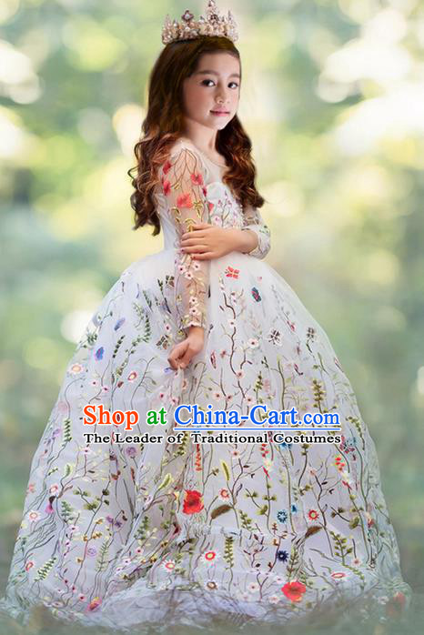 Top Grade Chinese Compere Professional Performance Piano Recital Catwalks Costume, Children Chorus Embroidery Flowers White Wedding Bubble Formal Dress Modern Dance Baby Princess Trailing Long Dress for Girls Kids
