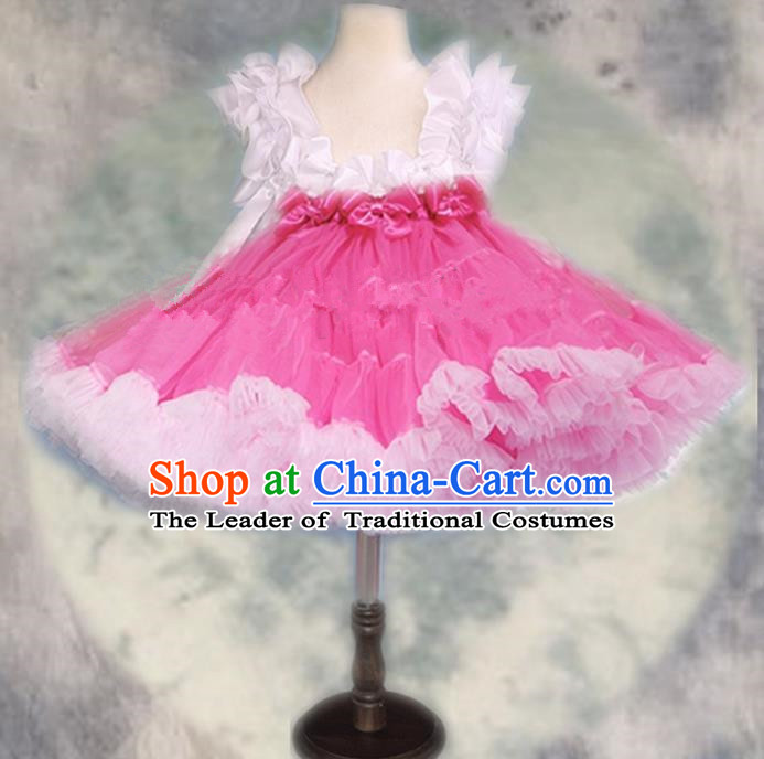 Top Grade Chinese Compere Professional Performance Catwalks Costume, Children Chorus White and Pink Bubble Formal Dress Modern Dance Baby Princess Veil Short Dress for Girls Kids