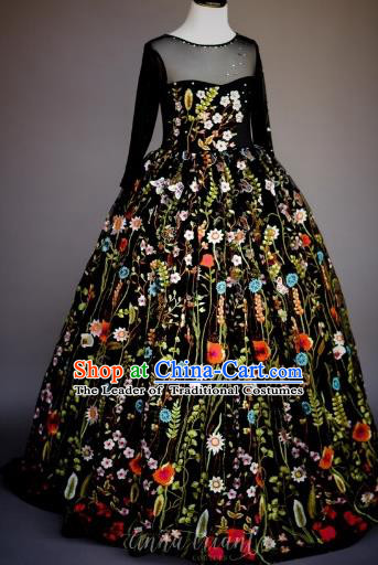 Top Grade Chinese Compere Professional Performance Piano Recital Catwalks Costume, Children Chorus Embroidery Flowers Black Wedding Bubble Formal Dress Modern Dance Baby Princess Trailing Long Dress for Girls Kids