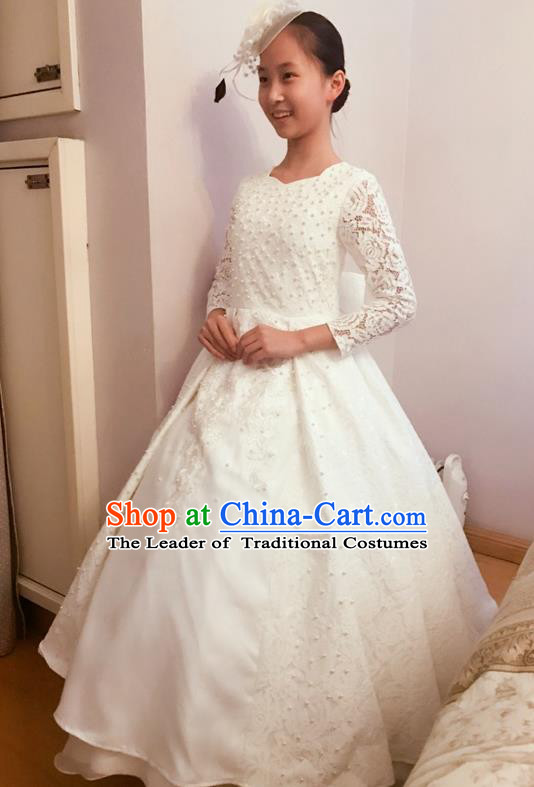 Top Grade Chinese Compere Professional Performance Piano Recital Catwalks Costume, Children Chorus Luxury White Wedding Bubble Formal Dress Modern Dance Baby Princess Trailing Long Dress for Girls Kids