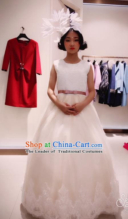 Top Grade Chinese Compere Professional Performance Piano Recital Catwalks Costume, Children Chorus Luxury Wedding Veil Bubble Formal Dress Modern Dance Baby Princess Trailing Long Dress for Girls Kids