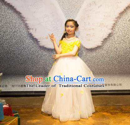 Top Grade Chinese Compere Professional Performance Catwalks Costume, Children Chorus Luxury Flower Fairy Yellow Wedding Bubble Formal Dress Modern Dance Baby Princess Long Trailing Dress for Girls Kids