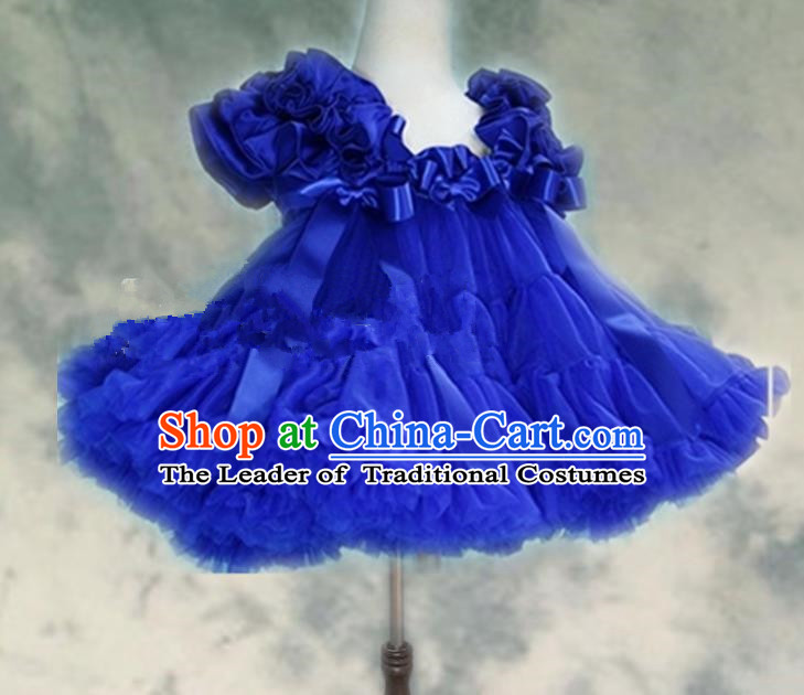 Top Grade Chinese Compere Professional Performance Catwalks Costume, Children Chorus Blue Bubble Formal Dress Modern Dance Baby Princess Veil Short Dress for Girls Kids
