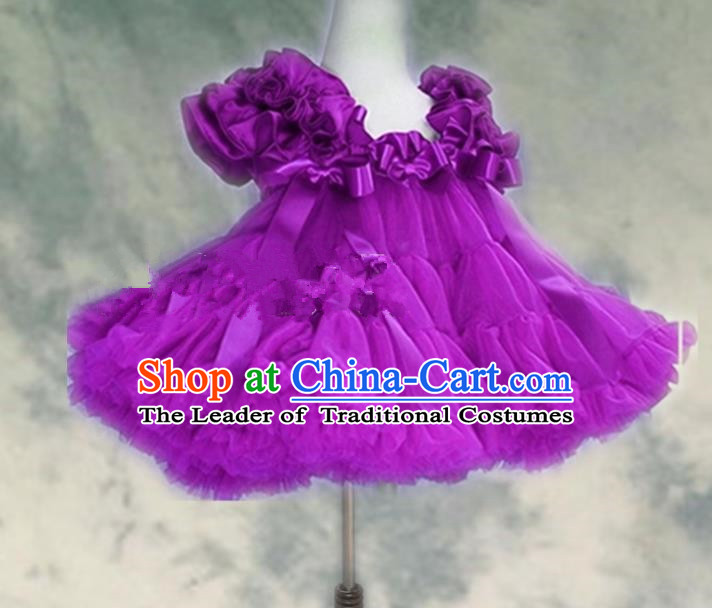 Top Grade Chinese Compere Professional Performance Catwalks Costume, Children Chorus Purple Bubble Formal Dress Modern Dance Baby Princess Veil Short Dress for Girls Kids