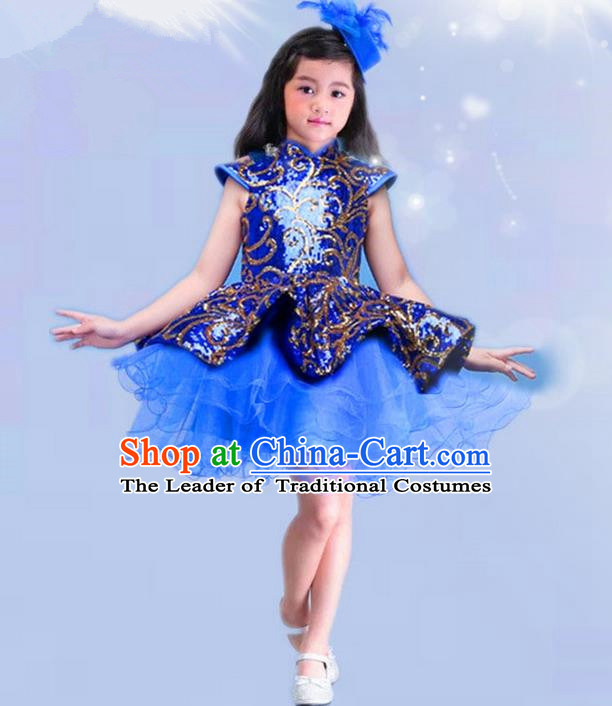 Top Grade Chinese Compere Professional Performance China Style Catwalks Costume, Children Chorus Luxury Blue Wedding Bubble Formal Dress Modern Dance Baby Princess Bubble Short Dress for Girls Kids